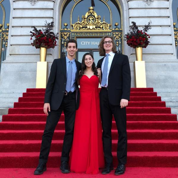Music students Hannah Gilberstadt, Andrew Senol, and Matthew Galik perform in San Francisco